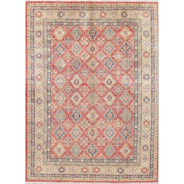"Pakistan Kazak Traditional Oriental Hand-Knotted Wool Persian Area Rug - 12'2"" x 8'11"""
