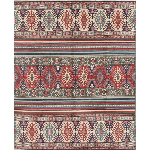 "Kazak Oriental Hand-Knotted Wool Southwestern Pakistani Area Rug - 9'8"" x 7'10"""