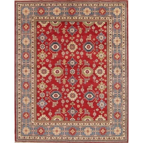 "Kazak Oriental Hand-Knotted Wool Traditional Pakistani Area Rug - 10'7"" x 8'4"""