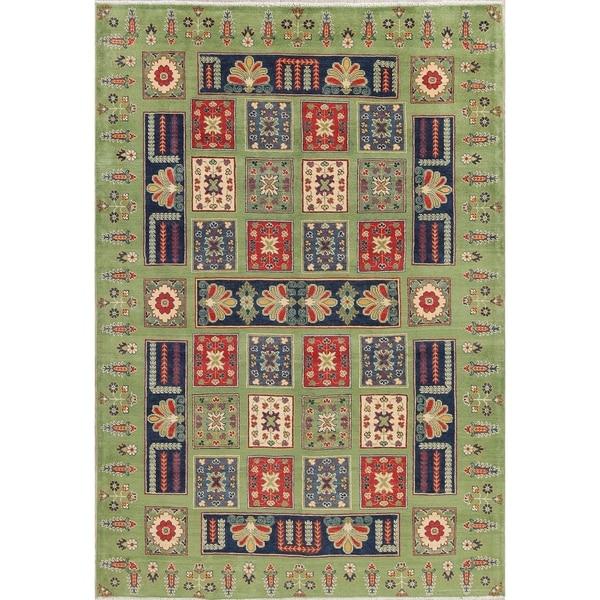 "Kazak Oriental Traditional Hand-Knotted Wool Pakistani Area Rug - 9'6"" x 6'6"""