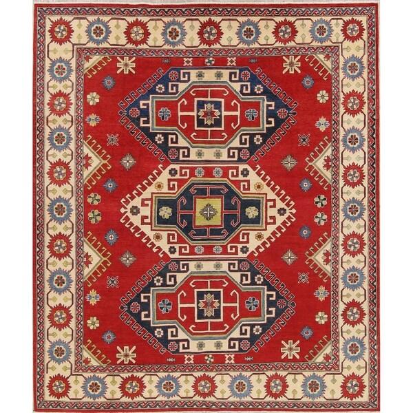 "Kazak Oriental Hand-Knotted Wool Southwestern Pakistani Area Rug - 9'7"" x 8'2"""
