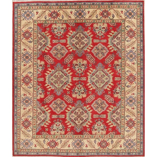 "Chechen-Kazak Oriental Hand-Knotted Traditional Pakistani Area Rug - 9'10"" x 8'4"""