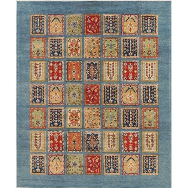 "Oriental Kazak Traditional Hand-Knotted Wool Pakistani Patchwork Rug - 9'11"" x 8'2"""