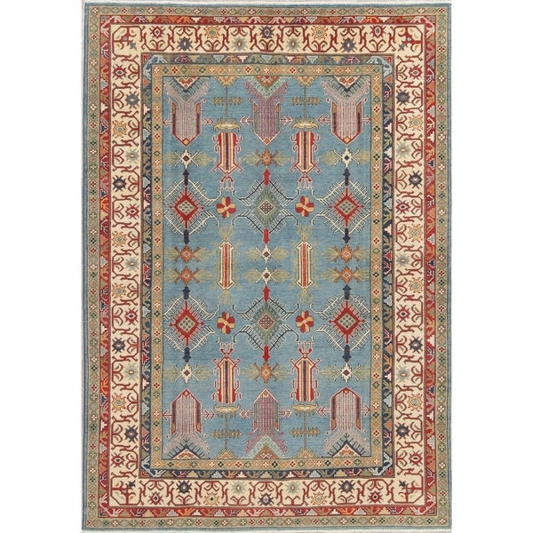 "Pakistani Wool Traditional Hand-Knotted Kazak Oriental Area Rug - 9'6"" x 6'6"""