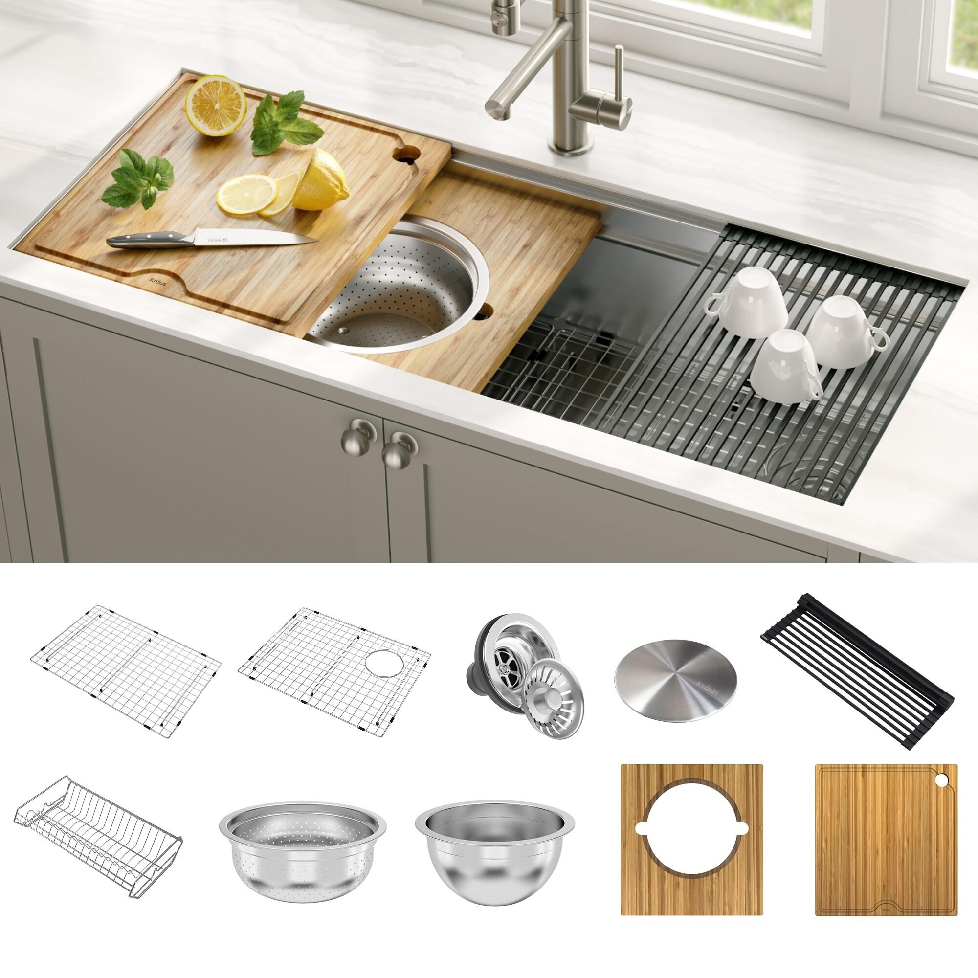 KRAUS Kore 45-inch Workstation Undermount Stainless Steel Kitchen Sink