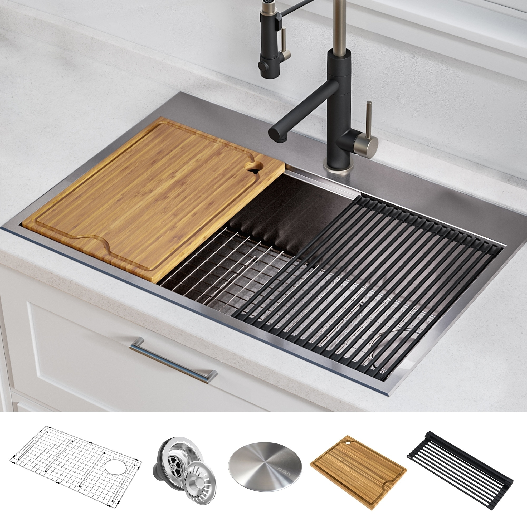 Swell Kraus Kore Workstation Drop In Stainless Steel Kitchen Sink Complete Home Design Collection Lindsey Bellcom