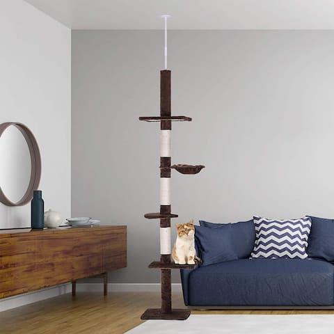 PawHut 9' Adjustable Height Floor-to-Ceiling Vertical Cat Tree
