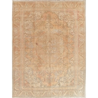 """Tabriz Muted Distressed Oriental Hand Knotted Vintage Persian Area Rug - 12'0"""" x 9'0"""""""