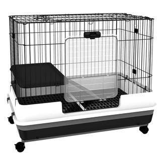 PawHut Metal Rabbit Cage Indoor Small Animal Hutch - N/A