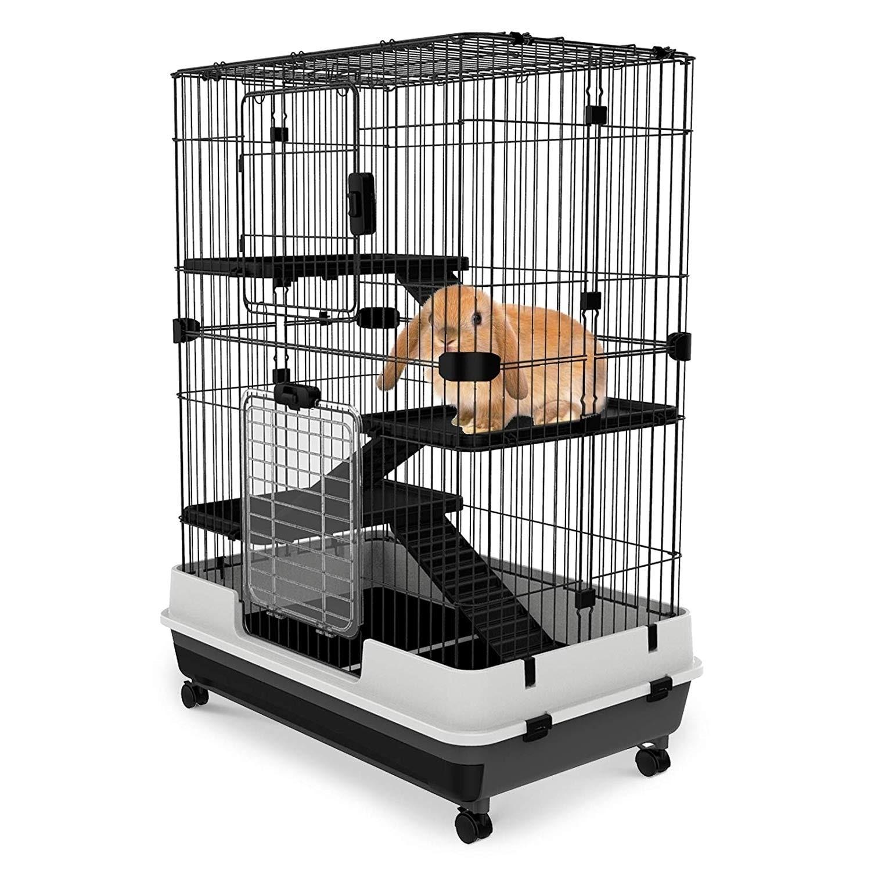 PawHut Metal Cage Indoor Small Animal Hutch - N/A (Ferret/Guinea Pig/Rat - Black)