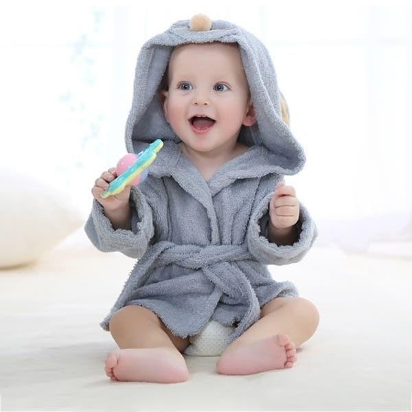 BATTILO HOME Toddler Baby Boy Girl Lovely Cartoon Flannel Bath Robe Pajamas