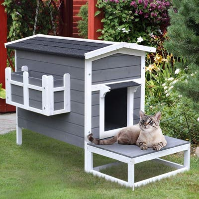 PawHut Wooden Large Deluxe Elevated Cat House
