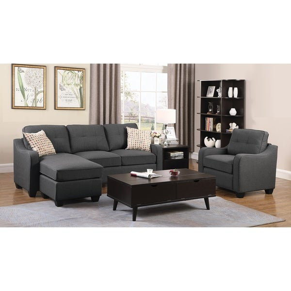 Nicolette 2-Piece Reversible Fabric Sectional Set, Grey