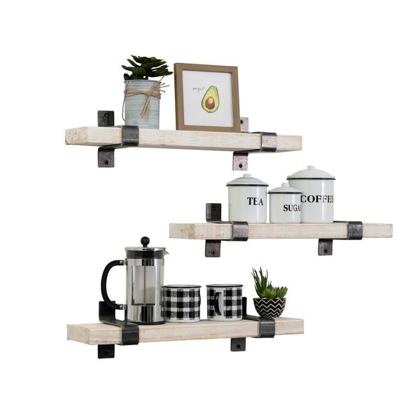 Handmade Industrial Wrap Bracket Utility Shelf, Set of 3