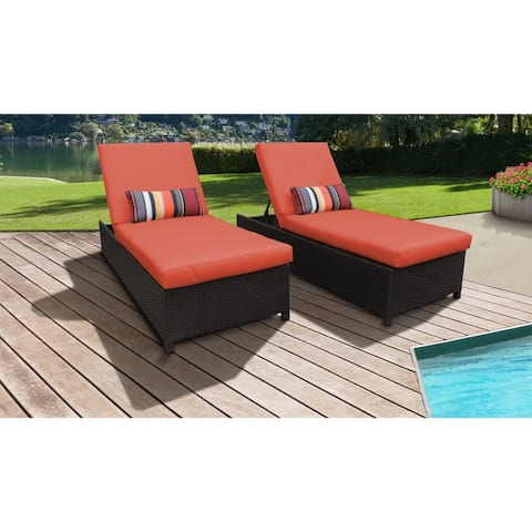Barbados Wheeled Chaise Set of 2 Outdoor Wicker Patio Furniture