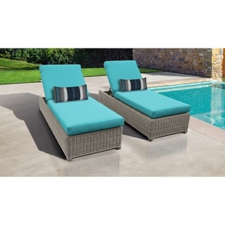 Coast Wheeled Chaise Set of 2 Outdoor Wicker Patio Furniture