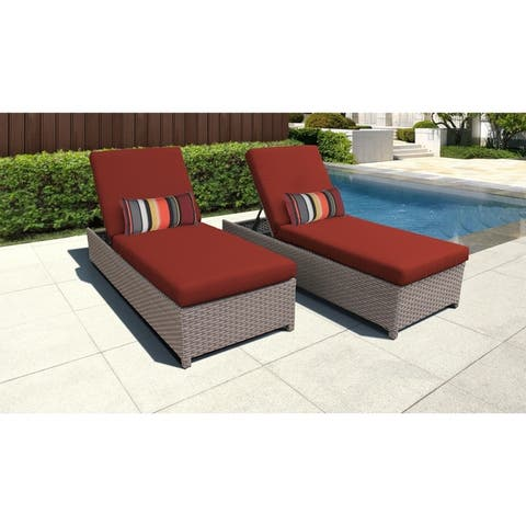 Florence Wheeled Chaise Set of 2 Outdoor Wicker Patio Furniture