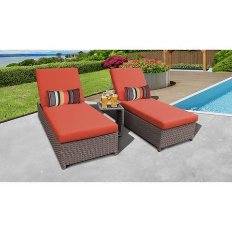 Monterey Wheeled Chaise Set of 2 Outdoor Wicker Patio Furniture and Side Table