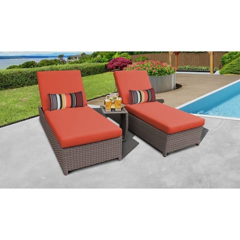 Florence Wheeled Chaise Set of 2 Outdoor Wicker Patio Furniture and Side Table