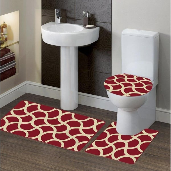 Shop 3 Piece Polyester Bath Rug Set Geometric Burgandy ...