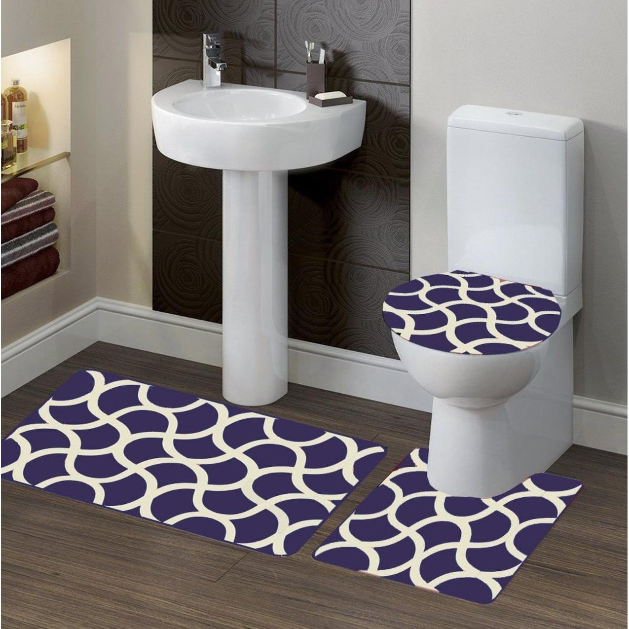 Polyester Bath Rug Set Geometric Purple
