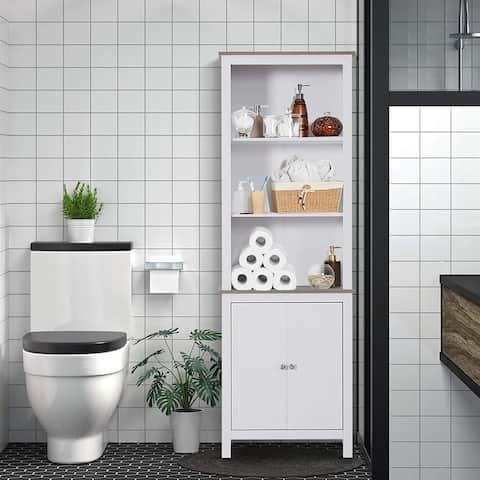 HOMCOM Free Standing Bathroom Linen Tower Storage Cabinet