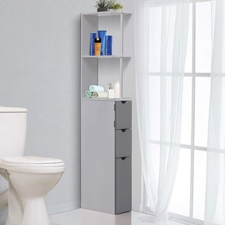 "HOMCOM 55"" Bathroom Tower Storage Cabinet"