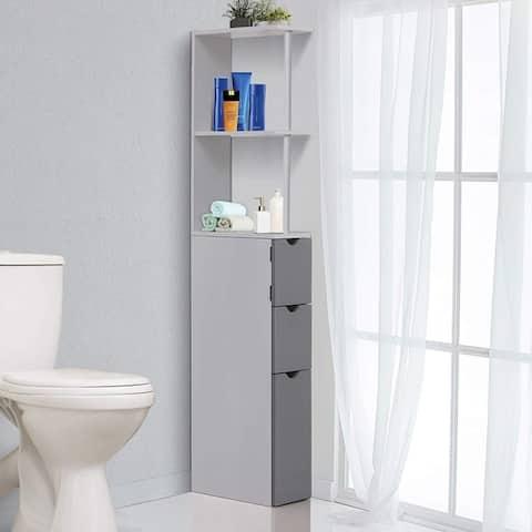 "HOMCOM 55"" Bathroom Tower Storage Cabinet"