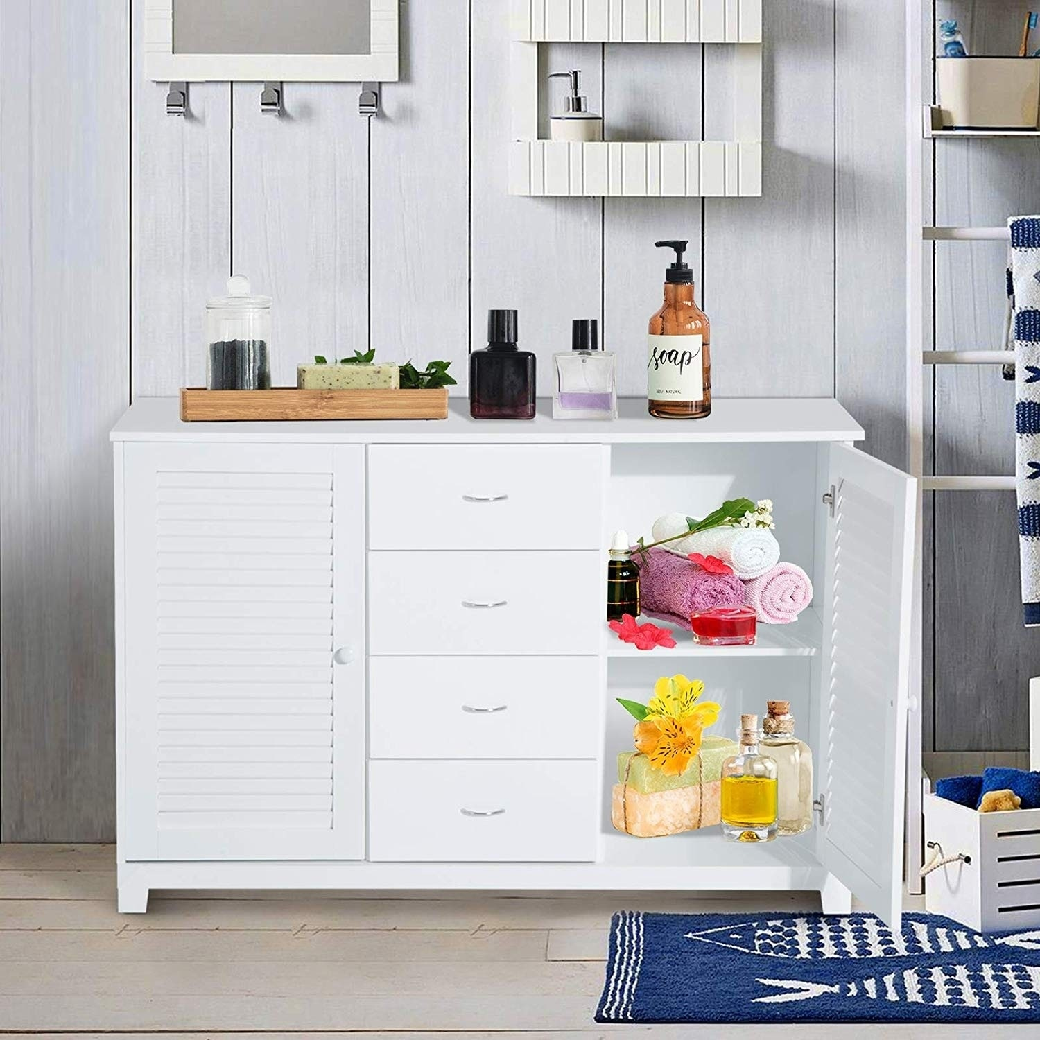 White Bathroom Cabinet Buffet Sideboard 47 25 W X 15 75 D X 31 5 H Overstock 28302755