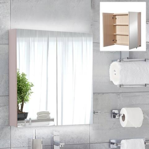 HOMCOM Double Door LED Bathroom Mirror Medicine Cabinet