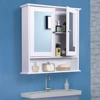 Kleankin Bathroom Wall Mounted Medicine Cabinets w/ Mirror Doors