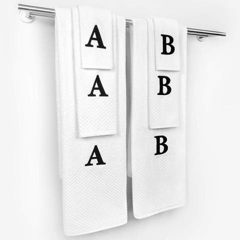 Kaufman-Personalized Checkerboard 3-Pieces (Bath Towel, Hand Towel, Washcloth) Set with Monogrammed Letter 100% Cotton. (1487)
