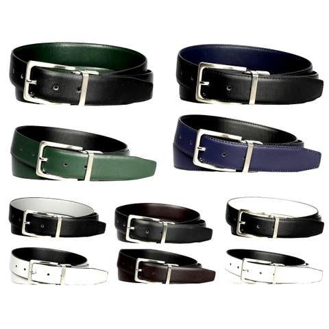 2-Pack Men's Genuine Leather Reversible Dress Belts - Assorted Colors