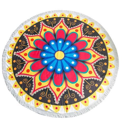 Yellow Manadala Round Towel With Fringes