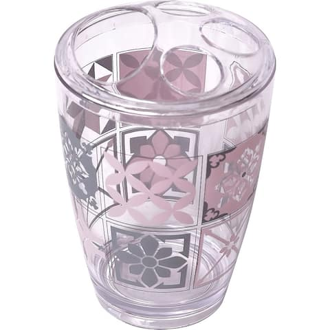 Clear Acrylic Printed Toothbrush and Toothpaste Holder Bastide - Pink, Grey - 2.95 L x 2.95 W x 4.52 H