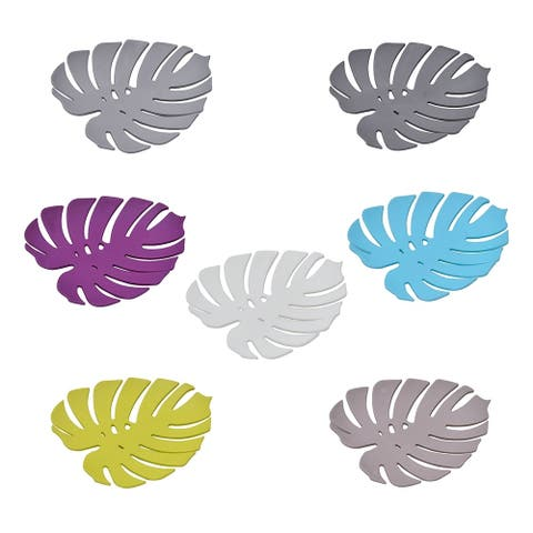 Bath Soap Dish Cup EXOTIC LEAF Solid Colors - White