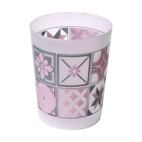 "Bastide Printed Floor Trash Can Bin Waste Basket 4.5-Liters/1.2-Gal - Pink, Grey - 7.68""L x 7.68""W x 9.45 inchesH"