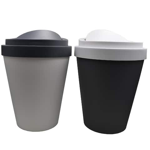 "Set 2 Coffee Cup Trash Can 1.3 Gallons and 2.3 Gallons - 13"" H x 10"" Diam"