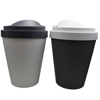 """Set 2 Coffee Cup Trash Can 1.3 Gallons and 2.3 Gallons - 13"""" H x 10"""" Diam"""