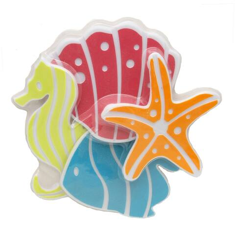 Kids Non Slippery Bathtub Treads Fish/Starfish/Sea Horse Set of 4