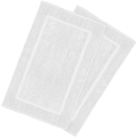 2 Pack Cotton Bath Mat White 21 x 34