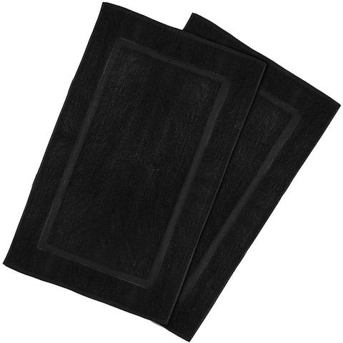 2 Pack Cotton Bath Mat Black 21 x 34