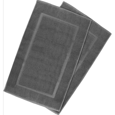 2 Pack Cotton Bath Mat Grey 21 x 34