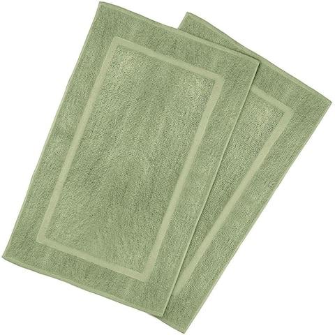2 Pack Cotton Bath Mat Green 21 x 34