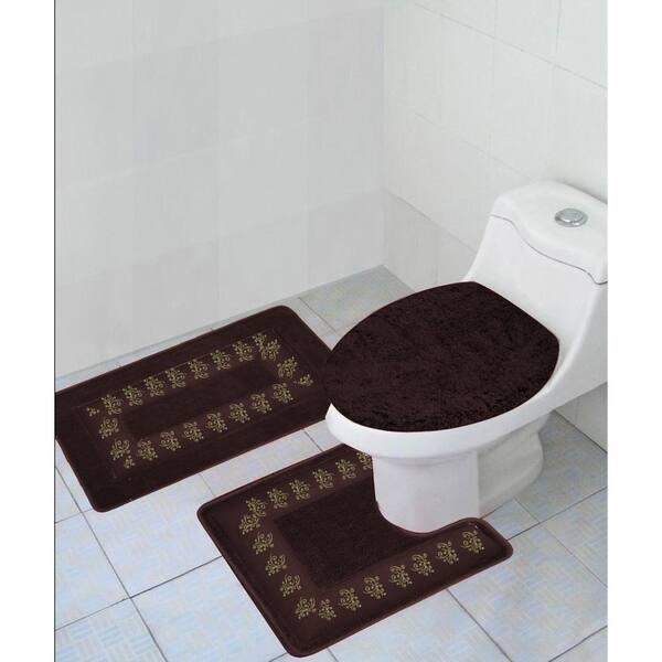 brown and gray bathroom rug
