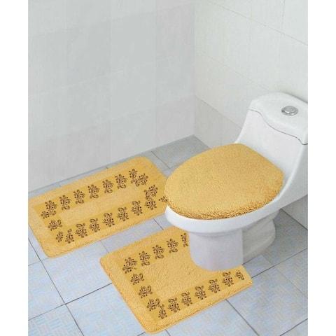3 Piece Polyester Bathroom Rug Set Gold