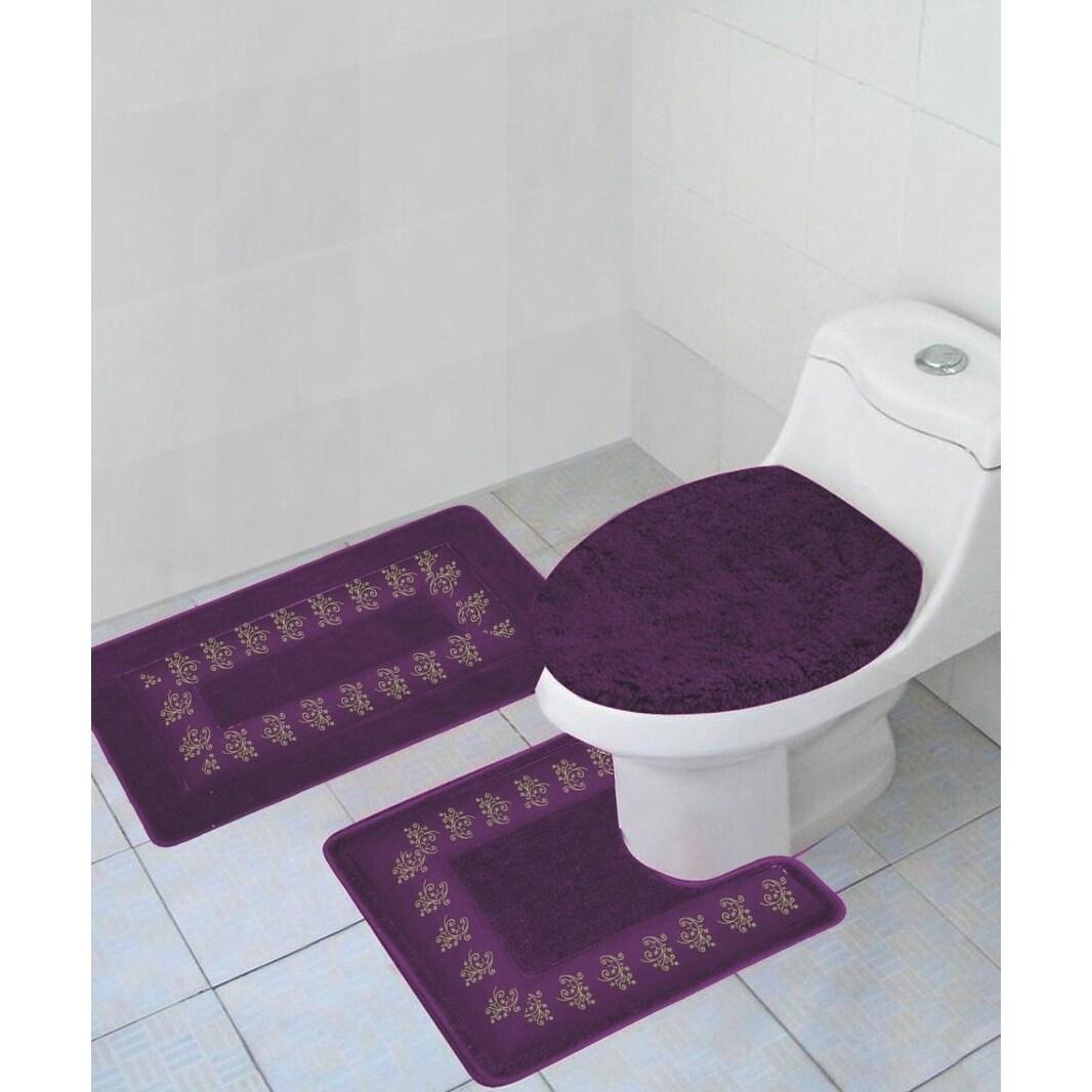 Piece Polyester Bathroom Rug Set Purple