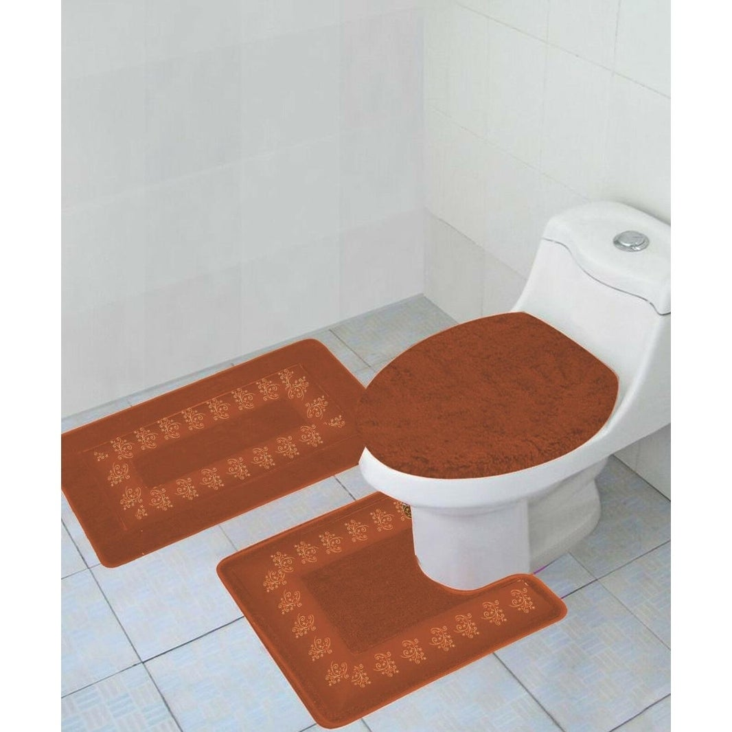 Bathroom Rug Set Rust Orange