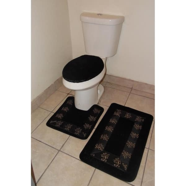 3 Piece Polyester Bathroom Rug Set