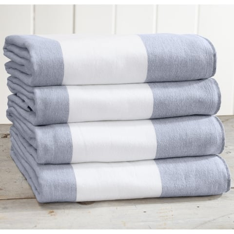 4 Pack 100% Cotton Cabana Wide Stripe Beach Towel